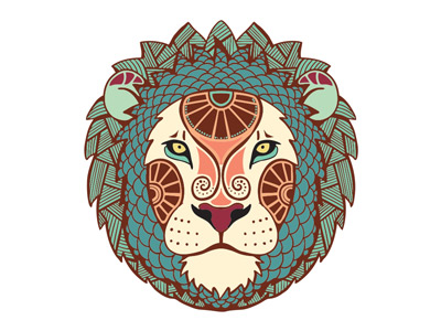 Зодиак льва в векторе