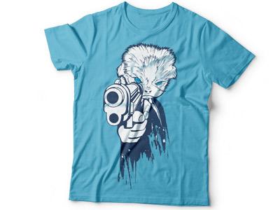 принт на футболку кот с пистолетом