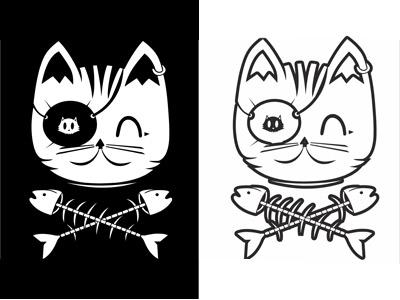 вектор кот пират