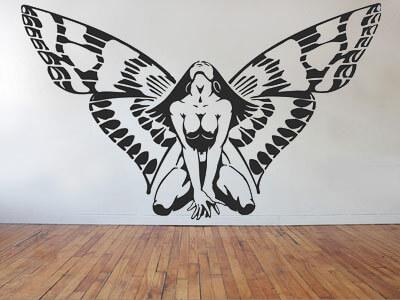 Девушка с крыльями бабочки наклейка на стену