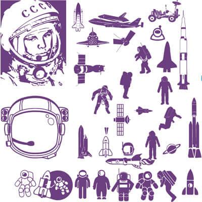 Космос, ракеты и космонавты в векторе