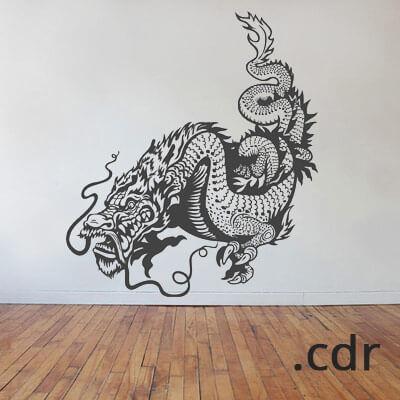 Наклейка Дракон на стене