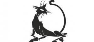 Наклейка черный кот №1