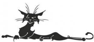 Наклейка черный кот №2