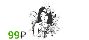 Наклейка девушка с цветами