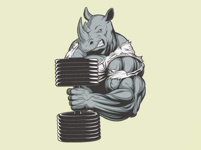 Носорог с гантелей в векторе