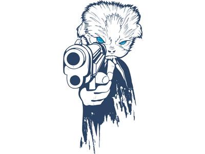 Вектор кот с пистолетом