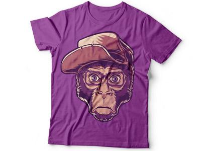 Принт на футболку обезьяна в очках