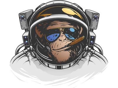обезьяна с сигарой вектор