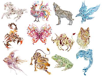 1. Животные из узоров в векторе