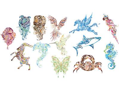 2. Животные из узоров в векторе