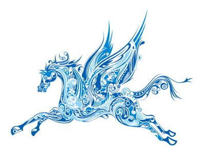 конь с крыльями в векторе