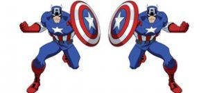 Супер герой капитан америка в векторе