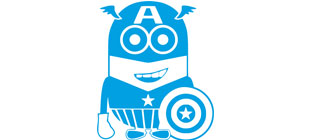 Миньон в костюме Капитана Америка в векторе