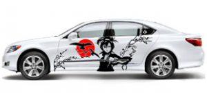 "Наклейка на авто ""Девушка с мечом на закате"" в векторе"