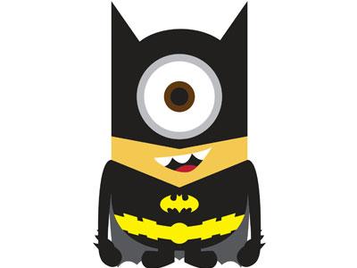 Миньон Бэтмен на белом фоне