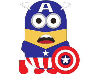 миньон капитан америка на белом фоне