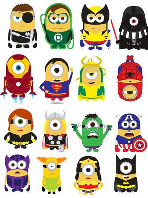 16 миньонов в костюме супергероев в векторе