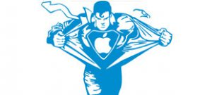 Наклейка супермен с яблоком в векторе
