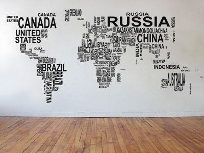 Наклейка на стену карта мира