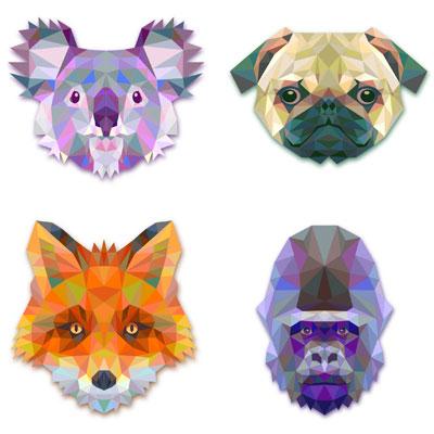 коала, мопс, лиса и горилла в векторе