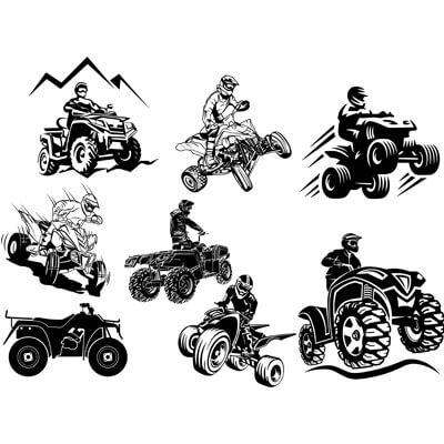 Черные Квадрациклы на белом фоне