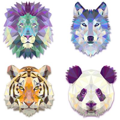 лев, тигр, волк и панда в векторе