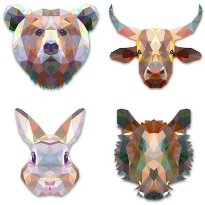 медведь, заяц, кабан и бык в векторе
