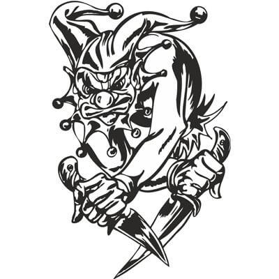 Злой клоун с ножами на белом фоне