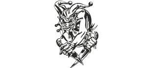 Злой клоун с ножами в векторе на белом фоне