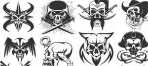 Набор черепов скелетов в векторе