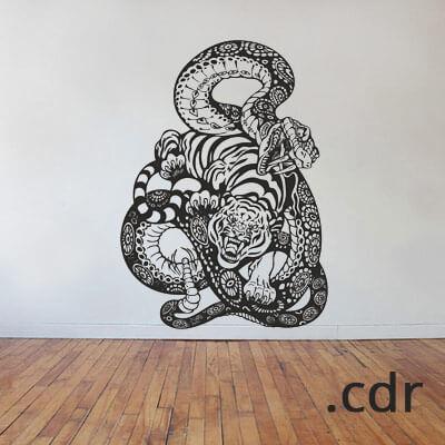 Наклейка на стену змея и тигр