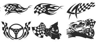 Черно-белые гоночные флаги с авто в векторе на белом фоне