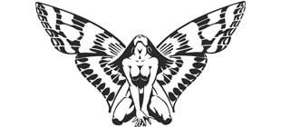 Девушка с крыльями бабочки наклейка на стену в векторе