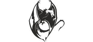 Вектор дракона с крыльями на белом фоне