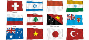 Развивающие флаги стран мира в векторе на белом фоне
