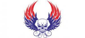 Голова скелета с крыльями в векторе
