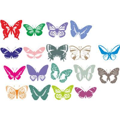 Бабочки на белом фоне