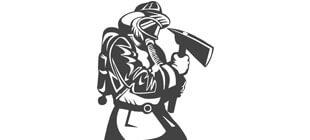 Вектор наклейки пожарный с топором
