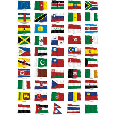 Развивающие флаги стран мира на белом фоне 2