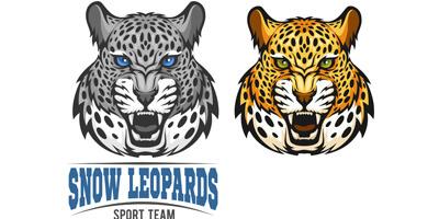 Морда леопарда на белом фоне
