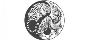 Дракон и тигр инь-янь в векторе
