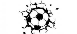 Наклейка мяч пробил стену