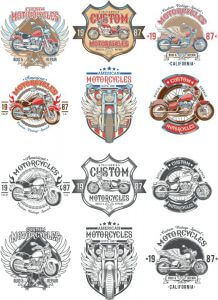Каталог ретро мотоциклов на белом фоне