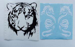 Наклейка тигр и драконы