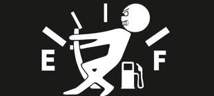 Вектор наклейки Человек тянет стрелку уровня топлива.